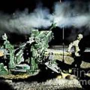 A United States Gun Crew Fire Illumination Rounds At Forward Operating Base Hadrian Poster