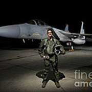 A U.s. Air Force Pilot Stands In Front Poster by Terry Moore