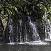 A Waterfall As Part Of An Exhibit Inside The Jurong Bird Park Poster