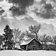 A Winter Sky - Oil Bw Poster