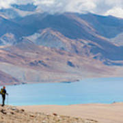 A Woman Is Hiking Toward Tsomoriri Poster