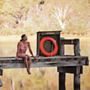 A Woman Is Sitting By A Lake, Mount Poster