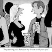 A Woman Speaks To A Man At A Cocktail Party Poster