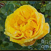 A Yellow Rose Abstract Painting Poster