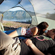 A Young Couple Camping Talk Poster