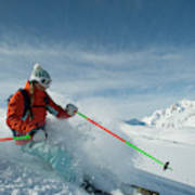 A Young Woman Skis The Backcountry Poster