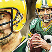 Aaron Rodgers Green Bay Packers Quarterback Artwork Poster