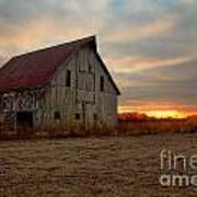 Abanded Barn At Sunset Poster