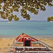 Abandoned Boat Seascape Poster