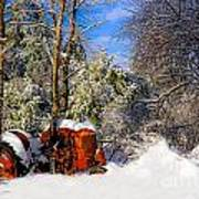 Abandoned Winter Tractor Poster