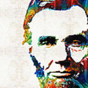 Abraham Lincoln Art - Colorful Abe - By Sharon Cummings Poster