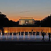 Abraham  Lincoln Memorial Sunset Poster