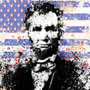 Abraham Lincoln Pop Art Splats Poster by Bekim Art