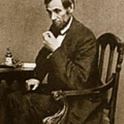 Abraham Lincoln Sitting At Desk Poster