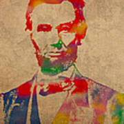 Abraham Lincoln Watercolor Portrait On Worn Distressed Canvas Poster