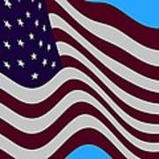 Abstract Burgundy Grey Violet 50 Star American Flag Flying Cropped Poster