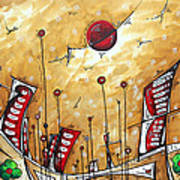 Abstract Art Cityscape Original Painting The Garden City By Madart Poster