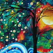 Abstract Art Original Landscape Painting Bold Circle Of Life Design Dance The Night Away By Madart Poster