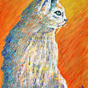 Jazzy Abstract Cat Poster