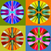 Abstract Circles And Squares 1 Poster