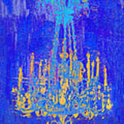 Abstract Cobalt Blue Chandelier Poster