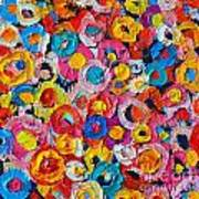 Abstract Colorful Flowers 1 - Paint Joy Series Poster