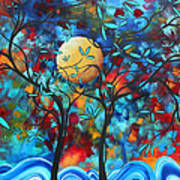 Abstract Contemporary Colorful Landscape Painting Lovers Moon By Madart Poster