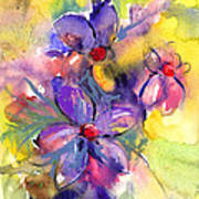 abstract Flower botanical watercolor painting print Poster