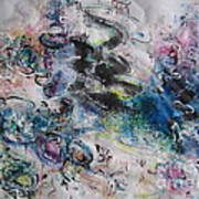 Abstract Flower Field Painting Blue Pink Green Purple Black Landscape Painting Modern Acrylic Pastel Poster