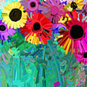 abstract - flowers- Flower Power Four Poster
