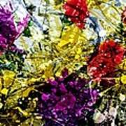 Abstract Flowers Messy Painting Poster