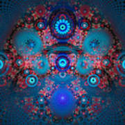 Abstract Fractal Art Blue And Red Poster