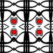 Abstract Geometric Black White Red Pattern Art No.173. Poster