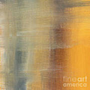 Abstract Golden Yellow Gray Contemporary Trendy Painting Fluid Gold Abstract I By Madart Studios Poster