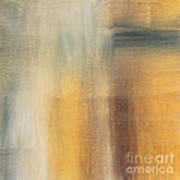 Abstract Golden Yellow Gray Contemporary Trendy Painting Fluid Gold Abstract II By Madart Studios Poster