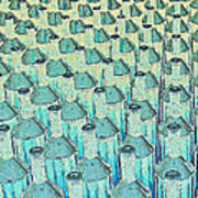 Abstract Green Glass Bottles Poster