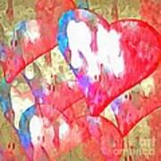 Abstract Hearts 16 Poster