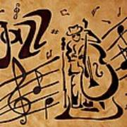 Abstract Jazz Music Coffee Painting Poster