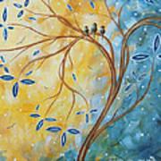 Abstract Landscape Bird Painting Original Art Blue Steel 2 By Megan Duncanson Poster