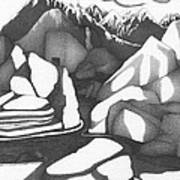 Abstract Landscape Rock Art Black And White By Romi Poster