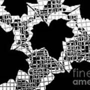 Abstract Leaf Pattern - Black White Grey Poster