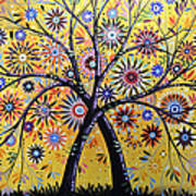 Abstract Modern Flowers Garden Art ... Flowering Tree Poster