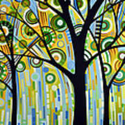 Abstract Modern Tree Landscape Spring Rain By Amy Giacomelli Poster