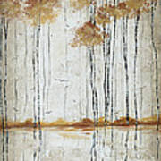 Abstract Neutral Landscape Pond Reflection Painting Mystified Dreams I By Megan Ducanson Poster