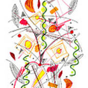 Abstract Pen Drawing Fifty-five Poster