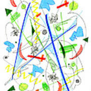 Abstract Pen Drawing Fifty-three Poster