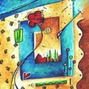 Abstract Pop Art Landscape Floral Original Painting Joyful World By Madart Poster