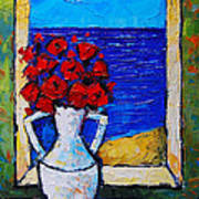 Abstract Poppies By The Sea Poster