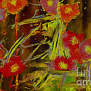 Abstract Poppies Flowers Mixed Media Painting Poster