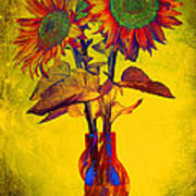 Abstract Sunflowers In Vase Poster